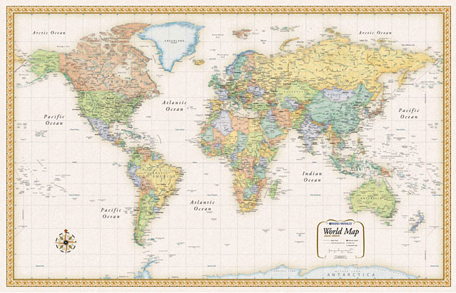 Rand classic world map parchment like paper and rich subdued colors give this map a sophisticated old world style while delivering the digital accuracy and extraordinary clarity gumiabroncs Gallery