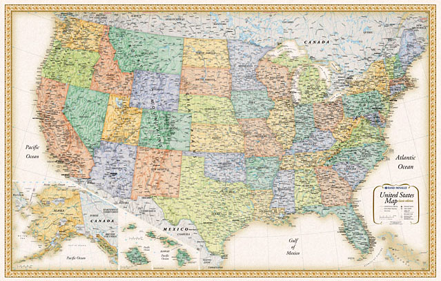 United States Wall Maps - Wall maps of us cities